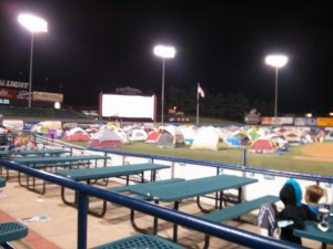 Cub Scout camping at the Reading Phils Stadium.